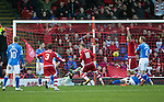 Aberdeen v St Johnstone…27.02.16   SPFL   Pittodrie, Aberdeen<br />Simon Church scores to make it 1-0<br />Picture by Graeme Hart.<br />Copyright Perthshire Picture Agency<br />Tel: 01738 623350  Mobile: 07990 594431