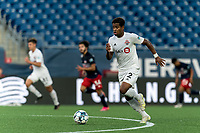FOXBOROUGH, MA - JULY 23: Steffen Yeates #72 of Toronto FC II brings the ball forward during a game between Toronto FC II and New England Revolution II at Gillette Stadium on July 23, 2021 in Foxborough, Massachusetts.