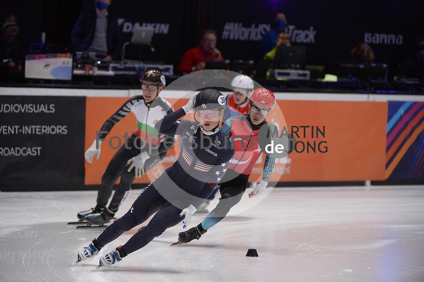 SPEEDSKATING: DORDRECHT: 06-03-2021, ISU World Short Track Speedskating Championships, RF 500m Men, Furkan Akar (TUR), Andrew Heo (USA), ©photo Martin de Jong