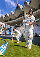 NZ batsmen Kyle Jamieson (right) and Henry Nicholls prepare to take the field for day two of the second International Test Cricket match between the New Zealand Black Caps and West Indies at the Basin Reserve in Wellington, New Zealand on Friday, 11 December 2020. Photo: Dave Lintott / lintottphoto.co.nz