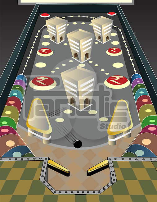 Game of pinball with rupee sign depicting the concept of business gaming