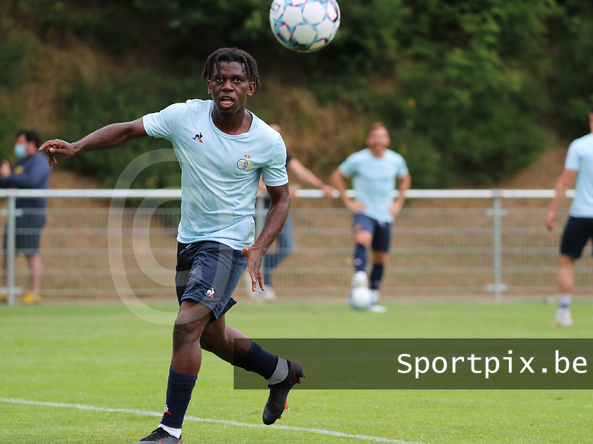 Pedro Lubamba (29) of Union in action during the warm up before a preseason friendly soccer game between Tempo Overijse and Royale Union Saint-Gilloise, Saturday 29th of June 2021 in Overijse, Belgium. Photo: SPORTPIX.BE | SEVIL OKTEM
