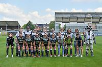 Team Eendracht Aalst Goalkeeper Silke Baccarne (1) , Henriette Awete (19) , Nina Vindevoghel (10) , Valentine Hannecart (8) , Stephanie Van Gils (27) , Tiana Andries (11) , Iman Saki (23) , ??? , mascotte and Chloe Van Mingeroet (17) , Loes Van Mullem (33) , Niekie Pellens (41) , Justine Blave (22) , Tiffanie Vanderdonckt (5) , Anke Vanhooren (7) , Goalkeeper Lisa Vandeputte (1) , ??? pictured before a female soccer game between Eendracht Aalst and Racing Genk on the 10 th and last matchday of play off 2 of the 2020 - 2021 season of Belgian Scooore Womens Super League , Saturday 29 st of May 2021  in Aalst , Belgium . PHOTO SPORTPIX.BE | SPP | STIJN AUDOOREN