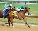 Alpha Mike Foxtrot wins a maiden race for two-year-olds on the undercard on Delaware Handicap Day at Delaware Park in Stanton, Delaware on July 21, 2012