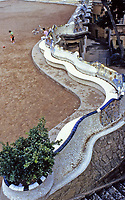 Main terrace in Parc Guell is surrounded by a long bench in the form of a sea serpent. The curves of the serpent bench form a number of enclaves.  Gaudí incorporated many motifs of Catalan nationalism, and elements from religious mysticism and ancient poetry, into the Park.
