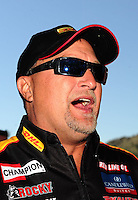 Jul. 24, 2011; Morrison, CO, USA: NHRA funny car driver Jeff Arend during the Mile High Nationals at Bandimere Speedway. Mandatory Credit: Mark J. Rebilas-