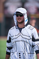 Scottsdale Scorpions pitcher Joel Bender (22), of the Cincinnati Reds organization, stretches in his Halloween costume prior to an Arizona Fall League game against the Glendale Desert Dogs on October 31, 2017 at Scottsdale Stadium in Scottsdale, Arizona. The Scorpions defeated the Desert Dogs 6-2. (Zachary Lucy/Four Seam Images)