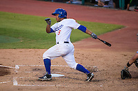 Heiker Meneses (5) of the Chattanooga Lookouts bats during a game between the Jackson Generals and Chattanooga Lookouts at AT&T Field on May 8, 2015 in Chattanooga, Tennessee. (Brace Hemmelgarn/Four Seam Images)