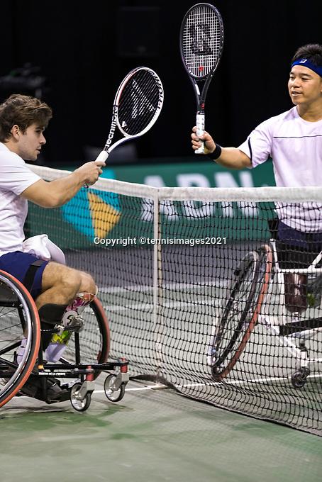 Rotterdam, The Netherlands, 4 march  2021, ABNAMRO World Tennis Tournament, Ahoy, First round wheelchair: Martin de la Puente (ESP) vs. Takashi Sanada (JPN). <br /> Photo: www.tennisimages.com/
