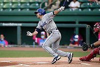Center fielder Alex McKenna (23) of the Asheville Tourists during a game against the Greenville Drive on Saturday, June 5, 2021, at Fluor Field at the West End in Greenville, South Carolina. (Tom Priddy/Four Seam Images)