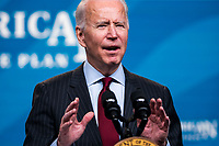 US President Joseph Biden announces changes to the Paycheck Protection Program (PPP) in the Eisenhower Executive Office Building in Washington, DC, USA, 22 February 2021. The Senate failed to convict the former president on a single charge of inciting insurrection. The Biden administration is attempting to provide more targeted relief to small businesses with the next round of PPP loans.<br /> Credit: Jim LoScalzo / Pool via CNP /MediaPunch