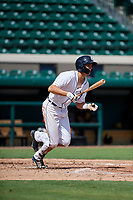 Detroit Tigers Parker Meadows (17) follows through on a swing during a Florida Instructional League game against the Pittsburgh Pirates on October 6, 2018 at Joker Marchant Stadium in Lakeland, Florida.  (Mike Janes/Four Seam Images)