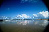 Bahia, Brazil. Coastal lagoon on a sandy shore; Costa do Sauipe.