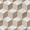 Euclid Grand, a hand-cut mosaic shown in honed Whitewood, polished Driftwood, and Shell, is part of the Illusions® collection by New Ravenna.