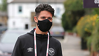 Christian Norgaard of Brentford arrives at the ground wearing his face mask during Brentford vs Charlton Athletic, Sky Bet EFL Championship Football at Griffin Park on 7th July 2020