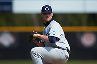 Catawba Indians starting pitcher Bryson Linkous (42) in action against the Queens Royals during game one of a double-header at Tuckaseegee Dream Fields on March 26, 2021 in Kannapolis, North Carolina. (Brian Westerholt/Four Seam Images)
