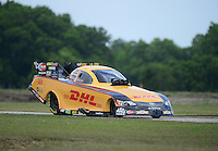 Apr. 28, 2012; Baytown, TX, USA: NHRA funny car driver Jeff Arend during qualifying for the Spring Nationals at Royal Purple Raceway. Mandatory Credit: Mark J. Rebilas-