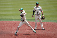Charlotte 49ers second baseman Carson Johnson (2) makes a throw to first base against the Old Dominion Monarchs at Hayes Stadium on April 25, 2021 in Charlotte, North Carolina. (Brian Westerholt/Four Seam Images)