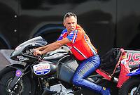 Nov. 11, 2011; Pomona, CA, USA; NHRA pro stock motorcycle rider Hector Arana Sr during qualifying at the Auto Club Finals at Auto Club Raceway at Pomona. Mandatory Credit: Mark J. Rebilas-.
