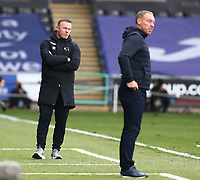 1st May 2021; Liberty Stadium, Swansea, Glamorgan, Wales; English Football League Championship Football, Swansea City versus Derby County; Wayne Rooney, Manager of Derby County looks dejected after his side loses 2-1