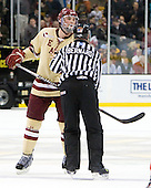 Brian Dumoulin (BC - 2), Bob Bernard - The Boston College Eagles defeated the Boston University Terriers 3-2 (OT) to win the 2012 Beanpot championship on Monday, February 13, 2012, at TD Garden in Boston, Massachusetts.