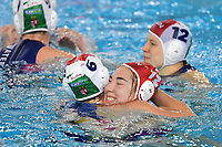 Rebecca Parkes of Hungary and Alda Magyari of Hungary celebrate the victory of the semi final and the qualification to Tokyo 2020 Olympic games <br /> Hungary HUN Vs Italy ITA <br /> Semifinal 1st-4th place <br /> Trieste (Italy) 23/01/2021 Bruno Bianchi Aquatic Center <br /> Fina Women's Water Polo Olympic Games Qualification Tournament 2021 <br /> Photo Andrea Staccioli / Deepbluemedia / Insidefoto