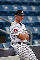 Staten Island Yankees Alfredo Garcia (48) before a NY-Penn League game against the Aberdeen Ironbirds on August 22, 2019 at Richmond County Bank Ballpark in Staten Island, New York.  Aberdeen defeated Staten Island 4-1 in a rain shortened game.  (Mike Janes/Four Seam Images)