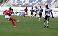 BARRANQUILLA - COLOMBIA, 08-08-2021: Barranquilla F. C. y Atletico F. C. durante partido de la fecha 3 por el Torneo BetPlay DIMAYOR II 2021 en el estadio Romelio Martinez en la ciudad de Baranquilla. / Barranquilla F. C. and Atletico F. C. during a match of the 3rd date for the BetPlay DIMAYOR II 2021 Tournament at the Romelio Martinez stadium in Baranquilla city. / Photo: VizzorImage / Jairo Cassiani / Cont.