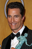 LOS ANGELES, CA - JANUARY 18: Matthew McConaughey in the press room at the 20th Annual Screen Actors Guild Awards held at The Shrine Auditorium on January 18, 2014 in Los Angeles, California. (Photo by Xavier Collin/Celebrity Monitor)