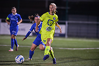 Lore Jacobs (17) of AA Gent and Fleur Pauwels (66) of KRC Genk pictured during a female soccer game between  Racing Genk Ladies and AA Gent Ladies ,  on the 6 th  matchday of the 2021-2022 season of the Belgian Scooore Womens Super League , friday 8 october 2021  in Genk , Belgium . PHOTO SPORTPIX | JILL DELSAUX
