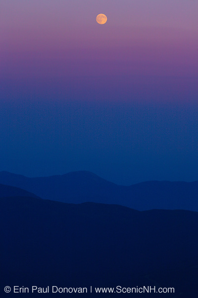 Moonrise over the Presidential Range from the summit of Mount Washington in the White Mountains, New Hampshire.