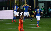 Italy's Lorenzo Pellegrini, second from right, celebrates with his teammates after scoring during the for UEFA Nations League football match between Italy and Netherlands at Bergamo's Atleti Azzurri d'Italia stadium, October 14, 2020.<br /> UPDATE IMAGES PRESS/Isabella Bonotto