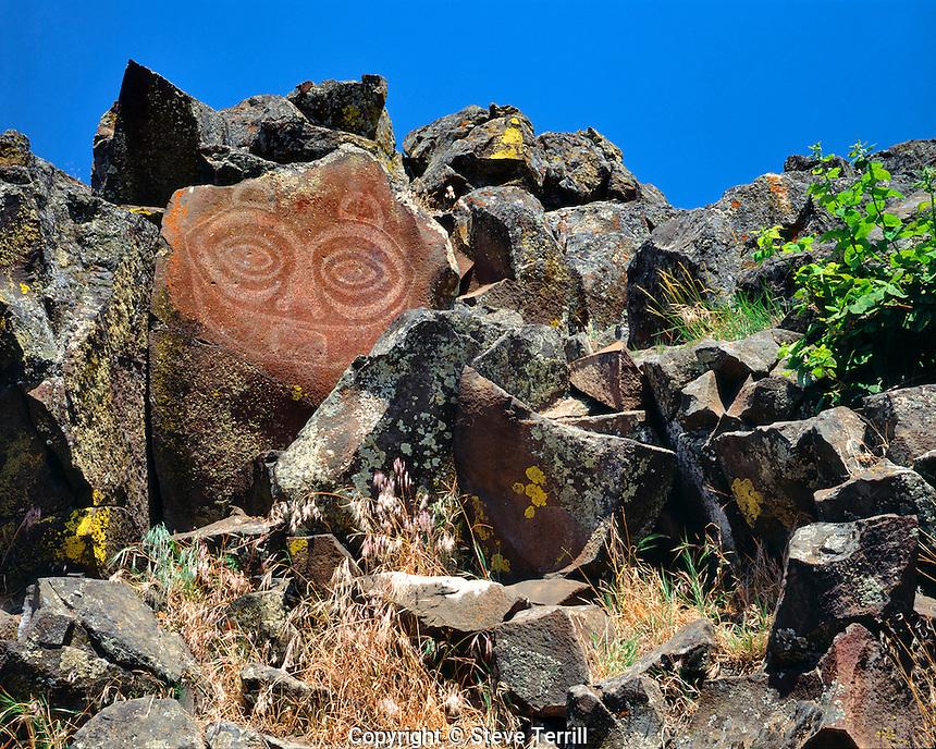 "She Who Watches or ""Tsagaglalal"" pictoglyph along Columbia River in Klickitat County, Washington"