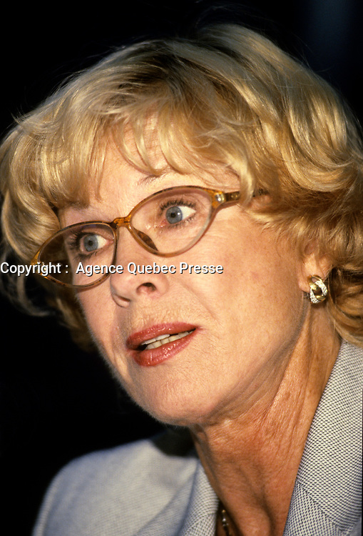 """Montreal (Qc) CANADA -  August 27 1999 File Photo -<br /> <br /> Bibi Andersson press conference as Jury President of the 1999 World Film Festival.<br /> <br /> Birgitta """"Bibi"""" Andersson (born 11 November 1935) is a Swedish actress.<br /> <br /> Andersson was born in Kungsholmen, Stockholm, the daughter of Karin (nÈe Mansion), a social worker, and Josef Andersson, a businessman.[2][3][4] She studied acting at the Terserus Drama School and at the legendary Royal Dramatic Theatre School in Stockholm. After completing school, she agreed to join the Royal Dramatic Theatre in Stockholm, which she remained a member of for 30 years. Her first collaboration with Ingmar Bergman was in 1951, when she participated in his production of an advertisement for the detergent """"Bris"""". At the end of the 1950s she starred in three Bergman pictures: The Seventh Seal, Wild Strawberries, and Brink of Life.<br /> <br /> Her intense portrayal of the nurse Alma in the 1966 film Persona led to an increase in the number of cinematic roles offered her, and she appeared that same year opposite James Garner and Sidney Poitier in the violent western Duel at Diablo. More Bergman collaborations followed, as well as working with John Huston (The Kremlin Letter: 1970) and Robert Altman (Quintet: 1979). She made her debut in American theatre in 1973 with a production of Erich Maria Remarque's """"Full Circle"""". In 1990 she worked as a theatre director in Stockholm. In the late 1980s and early 1990s Andersson worked primarily in television and as a theatre actress, working with Bergman among others. She was also a supervisor for the humanitarian project Road to Sarajevo.<br /> <br /> In 1996, she published her autobiography Ett ˆgonblick (""""A Moment"""", or, literally, """"A Blink of the Eye""""). She has been married (1960, divorced) to the director Kjell Grede with whom she has a daughter, Jenny, and, secondly (1978, divorced), to the politician and writer Per Ahlmark. Since 29 May 2004, Andersson has been married t"""