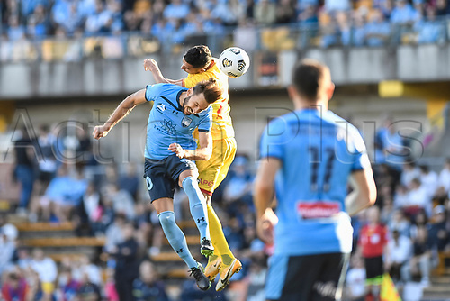 18th April 2021; Leichardt Oval, Sydney, New South Wales, Australia; A League Football, Sydney Football Club versus Adelaide United; Milos Ninkovic of Sydney and George Timotheou of Adelaide United compete for a header
