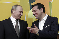 Pictured L-R: Vladimir Putin and Alexis Tsipras Friday 27 May 2016<br /> Re: Russian President Vladimir Putin with Greek Prime Minister Alexis Tsipras during a press conference at Maximou Mansion, Athens, Greece