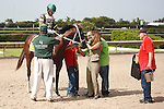 Two T's At Two B with Eduardo Nunez up, undefeated in 3 starts as he wins the Dr. Fager Division of the Florida Stallion Stakes of 2012 at Calder Race Course, Miami Gardens Florida. 07-28-2012. Arron Haggart/Eclipse Sportswire.