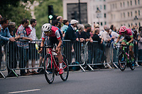 Tom Pidcock (GBR/Wiggins) trying to break out<br /> <br /> Stage 8: London to London (77km)<br /> 15th Ovo Energy Tour of Britain 2018