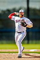 21 February 2019: Washington Nationals pitcher Aaron Barrett works on the mound during a Spring Training workout at the Ballpark of the Palm Beaches in West Palm Beach, Florida. Mandatory Credit: Ed Wolfstein Photo *** RAW (NEF) Image File Available ***
