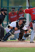 GCL Pirates catcher Daniel Angulo (27) during a Gulf Coast League game against the GCL Twins on August 6, 2019 at Pirate City in Bradenton, Florida.  GCL Twins defeated the GCL Pirates 4-2 in the first game of a doubleheader.  (Mike Janes/Four Seam Images)