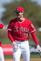 Shohei Ohtani (17), outfielder/pitcher for the Los Angeles Angels, jokes around with infielder Luis Valbuena (18) during Spring Training Camp on February 22, 2018 at Tempe Diablo Stadium in Tempe, Arizona. (Zachary Lucy/Four Seam Images)