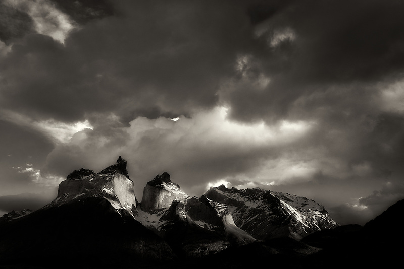 Paine Massif mountains at sunrise . Torres del Paine National Park, Chile, Patagonia
