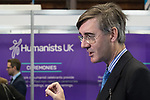 © Joel Goodman - 07973 332324 . 02/10/2017. Manchester, UK. JACOB REES-MOGG is interviewed for television at the conference in front of the Humanists UK stand . The second day of the Conservative Party Conference at the Manchester Central Convention Centre . Photo credit : Joel Goodman