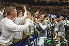 Mar. 31, 2014; Note Dame guard Kayla McBride celebrates with the Notre Dame band after Notre Dame  defeated the Baylor Bears in the finals of the Notre Dame regional in the 2014 NCAA Tournament at the Purcell Pavilion. Photo by Barbara Johnston/University of Notre Dame