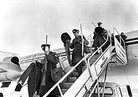 1967 FILE PHOTO - ARCHIVES -<br /> <br /> Comrades in arms from Governor-General George Vanier's old regiment -- Quebec's famed fighting Van Doos -- are shown as they arrived in Ottawa yesterday to take part in today's funeral. Besides their rifles, they're carrying full dress uniforms and busbies for the ceremonies.<br /> <br /> 1967<br /> <br /> PHOTO : Boris Spremo - Toronto Star Archives - AQP