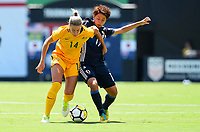 San Diego, CA - Sunday July 30, 2017: Alanna Kennedy, Mina Tanaka during a 2017 Tournament of Nations match between the women's national teams of the Australia (AUS) and Japan (JAP) at Qualcomm Stadium.
