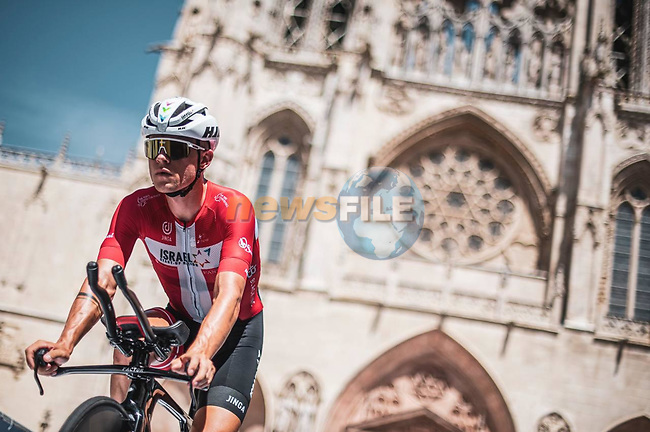 Danish Champion Mads Würtz Schmidt (DEN) Israel Start-Up Nation recons Stage 1 of La Vuelta d'Espana 2021, a 7.1km individual time trial around Burgos, Spain. 14th August 2021. <br /> Picture: Unipublic/Charly Lopez   Cyclefile<br /> <br /> All photos usage must carry mandatory copyright credit (© Cyclefile   Unipublic/Charly Lopez)
