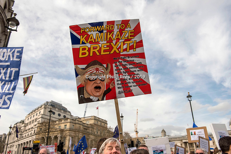 """The """"Put it to the People"""" rally makes it's way past Trafalgar Square in  central London today. Demonstrators from across the country gathered to call for a second referendum on Brexit and to march through the UK capital finishing with speeches in Parliament Square opposite the Houses of Parliament in Westminster."""