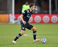 LAKE BUENA VISTA, FL - AUGUST 01: James Sands #16 of New York City FC turns with the ball during a game between Portland Timbers and New York City FC at ESPN Wide World of Sports on August 01, 2020 in Lake Buena Vista, Florida.