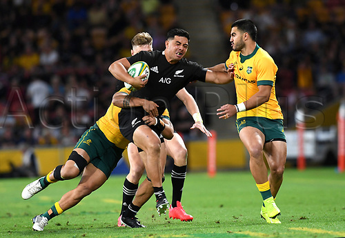 7th November 2020, Brisbane, Australia; Tri Nations International rugby union, Australia versus New Zealand;  Anton Lienert-Brown of the All Blacks in action